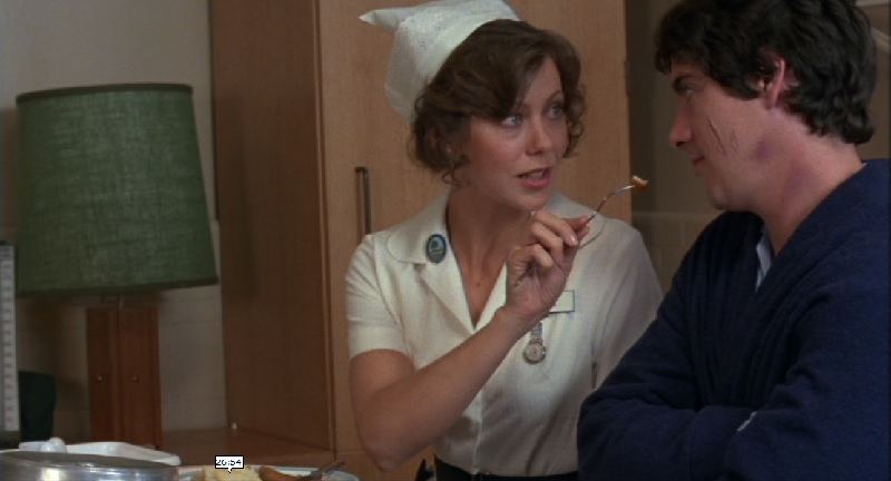 Jenny Agutter and David Naughton in a scene from An American Werewolf in London (1981)