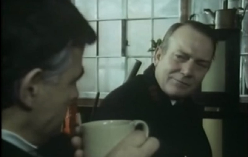 Denholm Elliott and Bernhard Lloyd in a Scene from the Signalman (A Ghost Story for Christmas - BBC 1976)