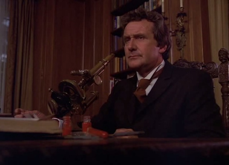 "Patrick Macnee stars as Dr Gheria in ""No Such Thing as a Vampire"" (1977)"
