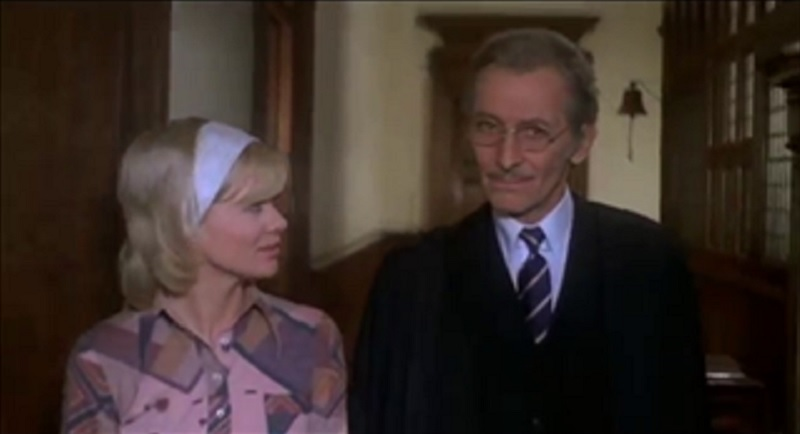 Judy Geeson and Peter Cushing in Fear in the Night(1972)