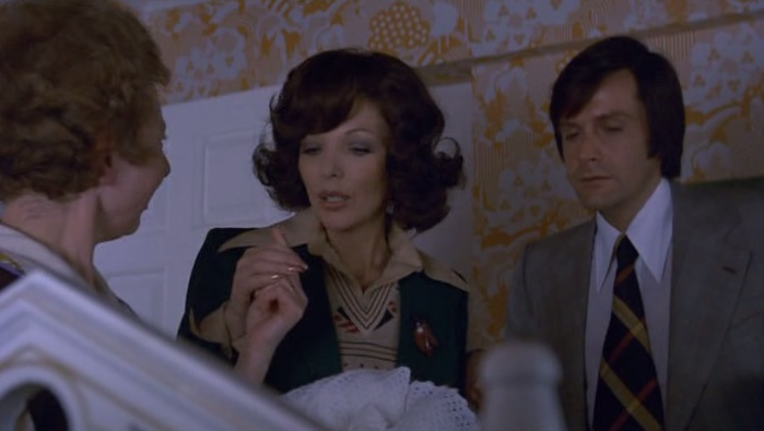 Hilary Mason, Joan Collins, and Ralph Bates in I Don't Want to be Born (1975)